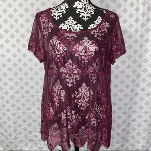 Purple Sheer Lace Top